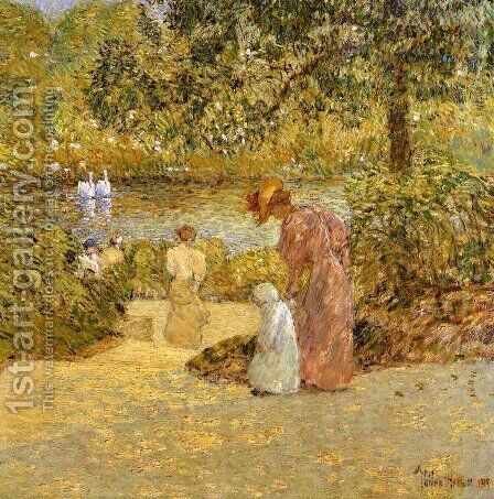 Descending the Steps, Central Park by Childe Hassam - Reproduction Oil Painting