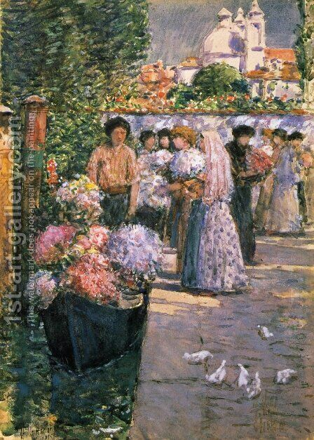 Flower Market by Childe Hassam - Reproduction Oil Painting
