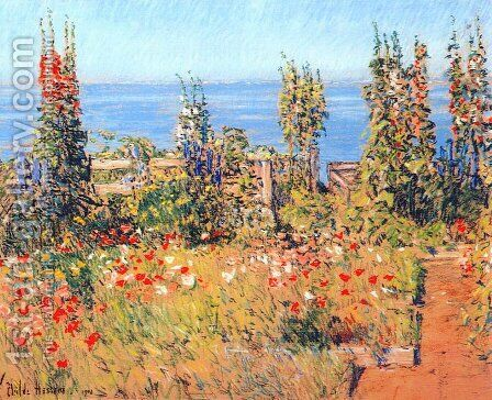 Hollyhocks, Isles of Shoals by Childe Hassam - Reproduction Oil Painting