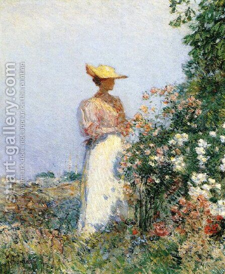 Lady in Flower Garden by Childe Hassam - Reproduction Oil Painting