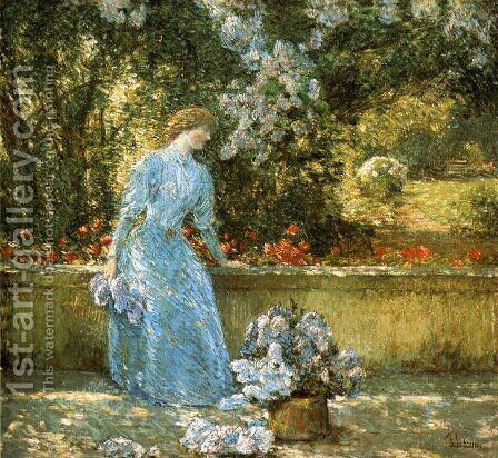 Lady in the Park by Childe Hassam - Reproduction Oil Painting
