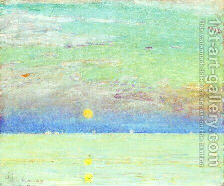 Moonrise at Sunset by Childe Hassam - Reproduction Oil Painting