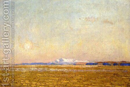 Moonrise at Sunset, Harney Desert by Childe Hassam - Reproduction Oil Painting