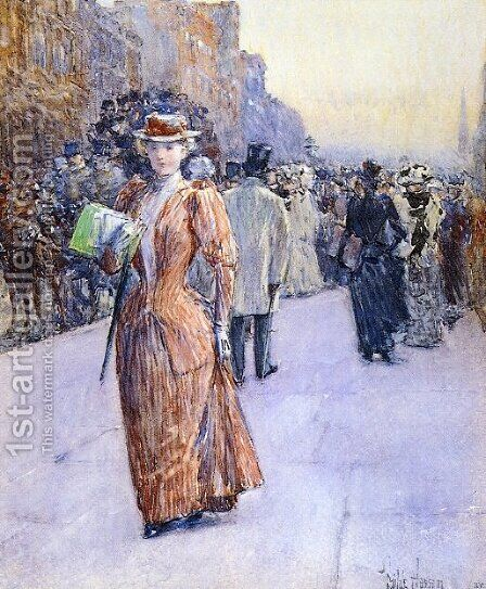 New York Street Scene by Childe Hassam - Reproduction Oil Painting