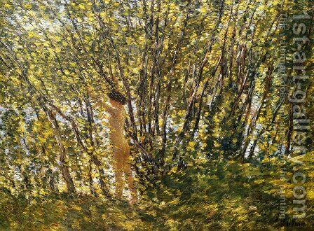 Nude in Sunlilt Wood by Childe Hassam - Reproduction Oil Painting