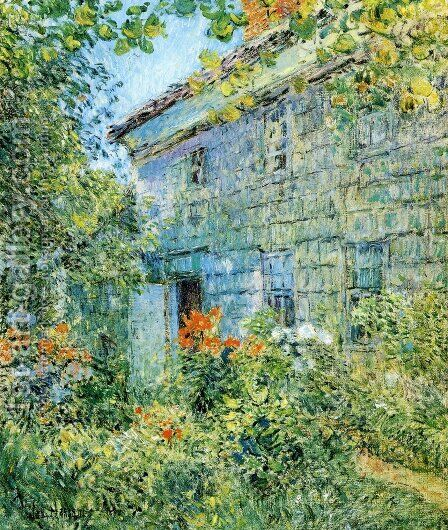 Old House and Garden, East Hampton by Childe Hassam - Reproduction Oil Painting