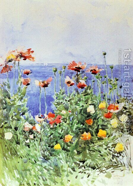 Poppies, Isles of Shoals 2 by Childe Hassam - Reproduction Oil Painting