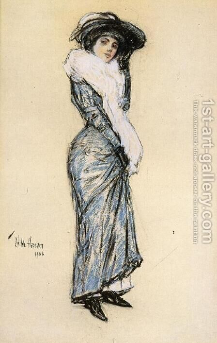 Portrait of a Lady in Blue Dress by Childe Hassam - Reproduction Oil Painting
