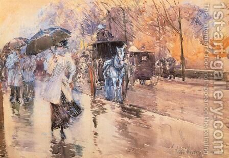 Rainy Day on Fifth Avenue by Childe Hassam - Reproduction Oil Painting