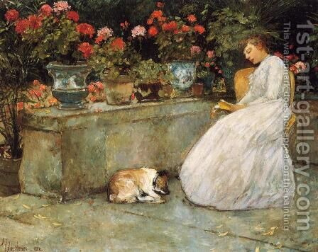 Reading by Childe Hassam - Reproduction Oil Painting