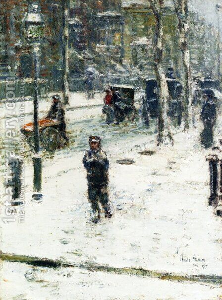 Snow Storm, Fifth Avenue, New York by Childe Hassam - Reproduction Oil Painting