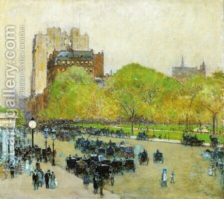 Spring Morning in the Heart of the City by Childe Hassam - Reproduction Oil Painting