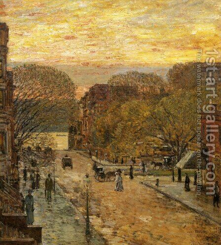 Spring on West 78th Street by Childe Hassam - Reproduction Oil Painting