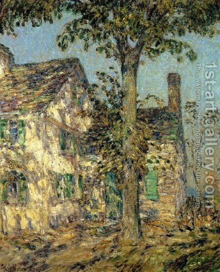 Sunlight on an Old House, Putnam by Childe Hassam - Reproduction Oil Painting