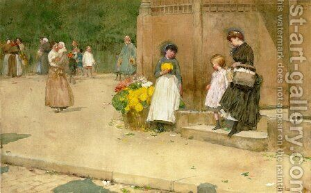 The Flower Seller by Childe Hassam - Reproduction Oil Painting