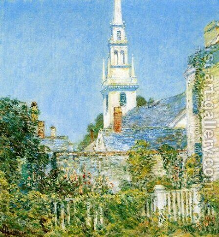 White Church at Newport by Childe Hassam - Reproduction Oil Painting
