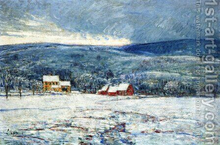 Winter in the Connecticut Hills by Childe Hassam - Reproduction Oil Painting