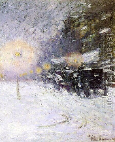 Winter Midnight by Childe Hassam - Reproduction Oil Painting