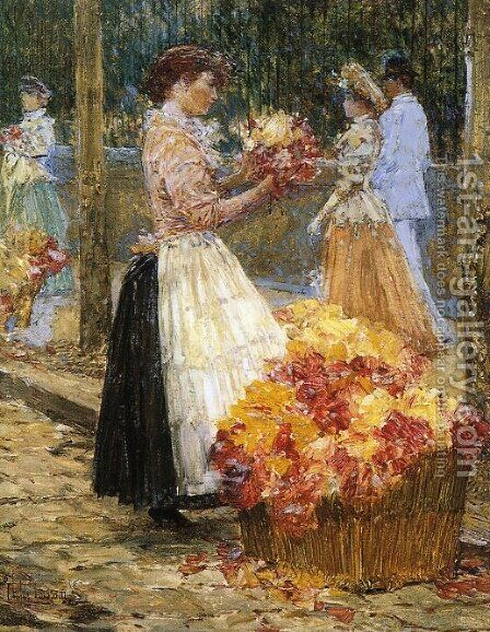 Woman Sellillng Flowers by Childe Hassam - Reproduction Oil Painting