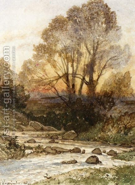 A Rocky Landscape with a Torrent of Water by Henri-Joseph Harpignies - Reproduction Oil Painting