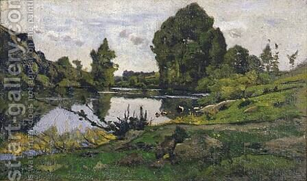 Beaujour, Bord de la rivière by Henri-Joseph Harpignies - Reproduction Oil Painting