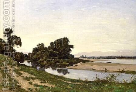 Ile de sable, bord de Loire by Henri-Joseph Harpignies - Reproduction Oil Painting