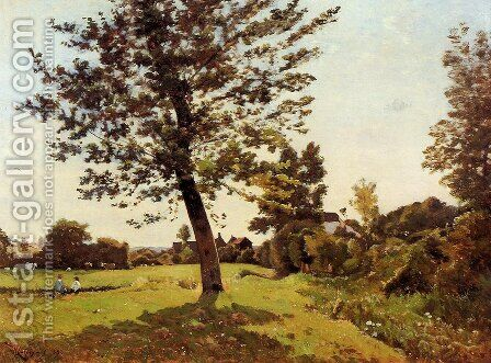 Meadow, Sunlight Effect by Henri-Joseph Harpignies - Reproduction Oil Painting