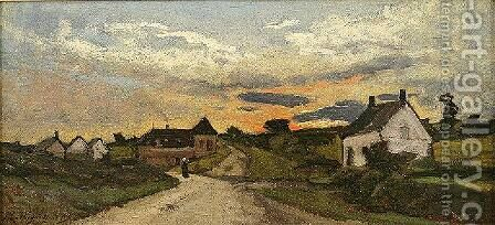 Route Dans la Ville by Henri-Joseph Harpignies - Reproduction Oil Painting