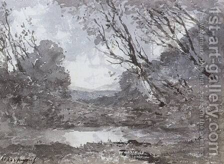 Woodland Landscape with a Pond by Henri-Joseph Harpignies - Reproduction Oil Painting