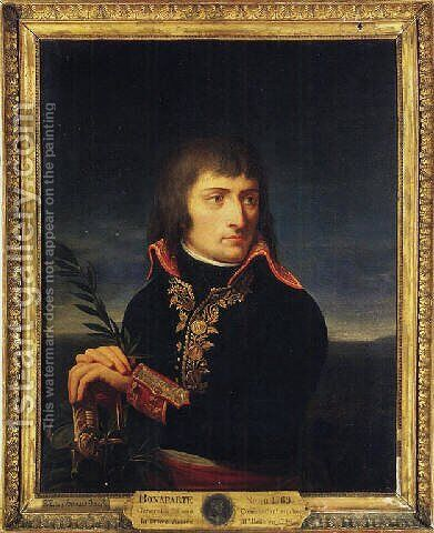 Portrait of Napoleon Bonaparte, his hands resting on the hilt of a sword, before a landscape by Andrea, the Elder Appiani - Reproduction Oil Painting