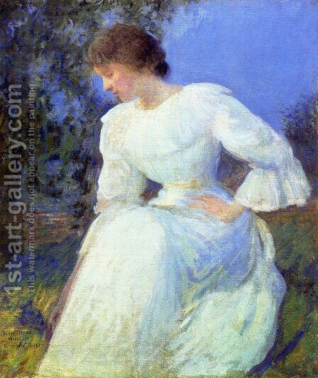 Girl in White by Edmund Charles Tarbell - Reproduction Oil Painting