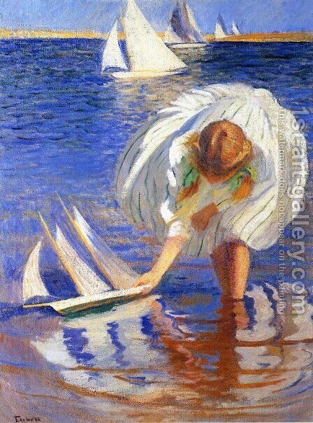 Girl with Sailboat (aka Child with Boat) by Edmund Charles Tarbell - Reproduction Oil Painting