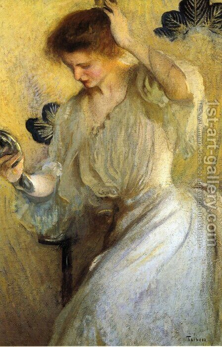 The Mirror (aka Girl with a Mirror) by Edmund Charles Tarbell - Reproduction Oil Painting