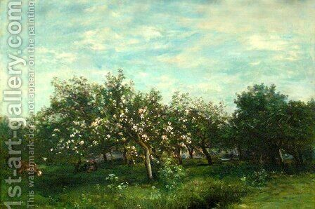 Apple Blossoms by Charles-Francois Daubigny - Reproduction Oil Painting