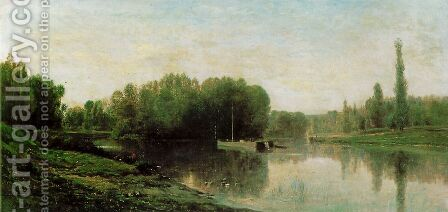 Les Bords de l'Oise by Charles-Francois Daubigny - Reproduction Oil Painting