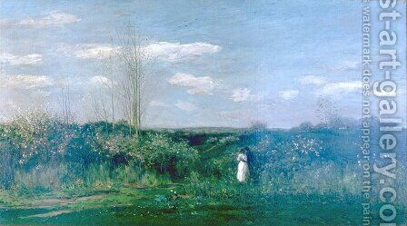 Spring Landscape, Le printemps by Charles-Francois Daubigny - Reproduction Oil Painting