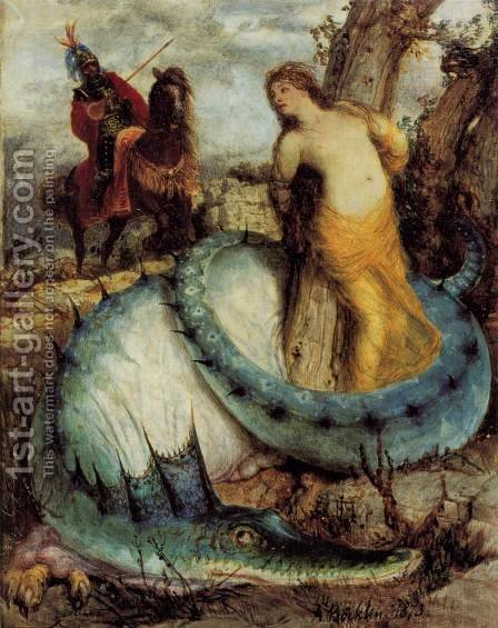 Angélique and the dragon by Arnold Böcklin - Reproduction Oil Painting