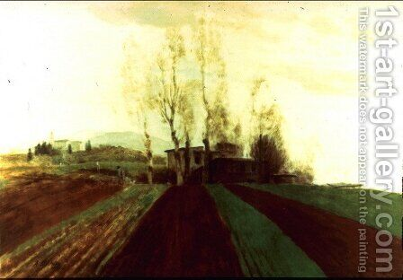 Arable land corridors in the early spring by Arnold Böcklin - Reproduction Oil Painting