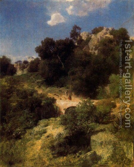 Bridge in a mountain landscape by Arnold Böcklin - Reproduction Oil Painting