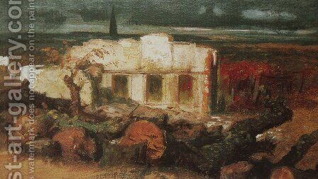 House destroyed nearly Kehl by Arnold Böcklin - Reproduction Oil Painting
