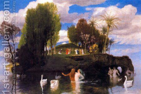 Island of Living by Arnold Böcklin - Reproduction Oil Painting