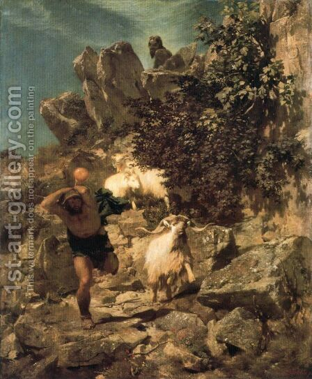 Pan frightening a shepherd 2 by Arnold Böcklin - Reproduction Oil Painting