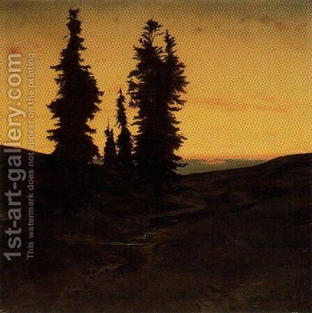 Sapins at the sunset by Arnold Böcklin - Reproduction Oil Painting