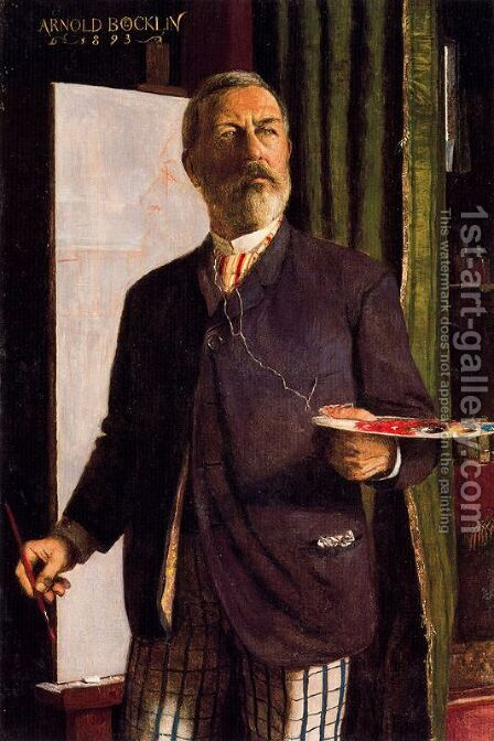 Self portrait in the studio by Arnold Böcklin - Reproduction Oil Painting