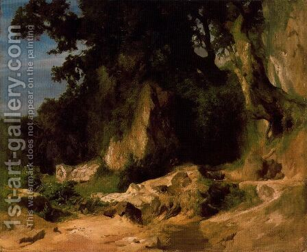 Slope of the Albains Rocky Mountains by Arnold Böcklin - Reproduction Oil Painting