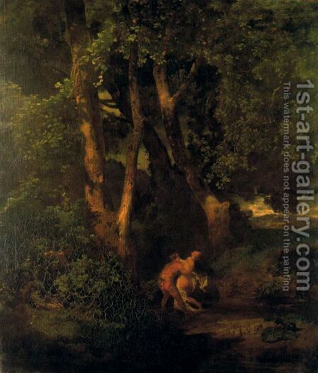 Wildlife and nymph on the edge of a forest by Arnold Böcklin - Reproduction Oil Painting