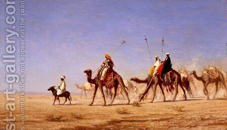 A Caravan Crossing the Desert by Charles Théodore Frère - Reproduction Oil Painting