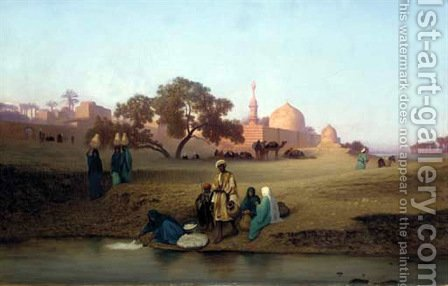 A village along the Nile near Cairo by Charles Théodore Frère - Reproduction Oil Painting