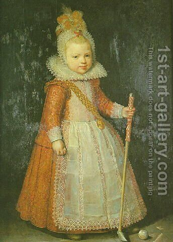 Portrait of a young boy holding a cane by Cornelis De Vos - Reproduction Oil Painting