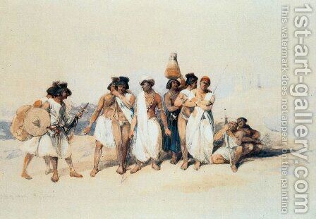 A Nubian group, Wady Kardassy by David Roberts - Reproduction Oil Painting